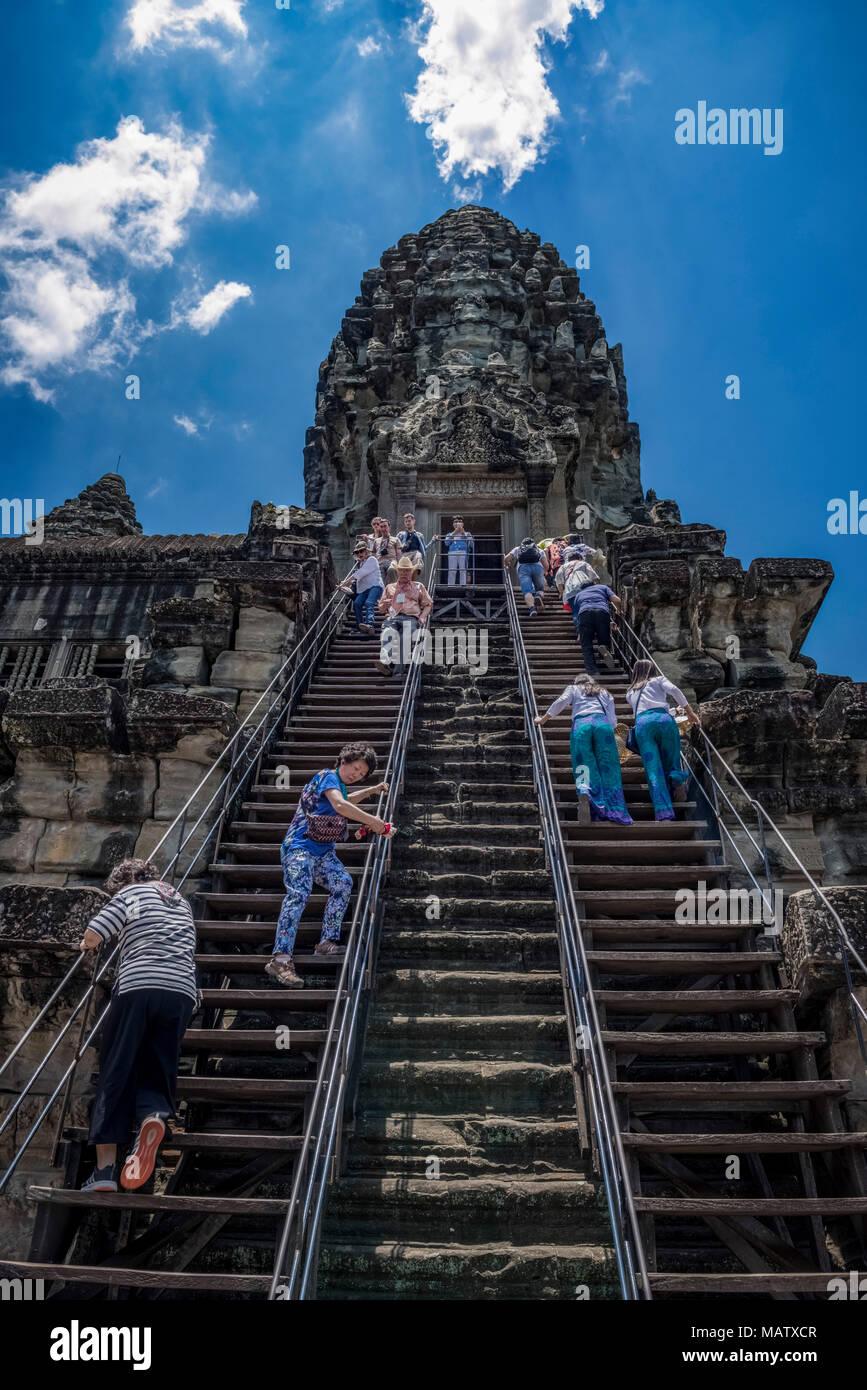 Asien, Kambodscha, Angkor Wat, Turm, Tempel, Treppe Stockbild