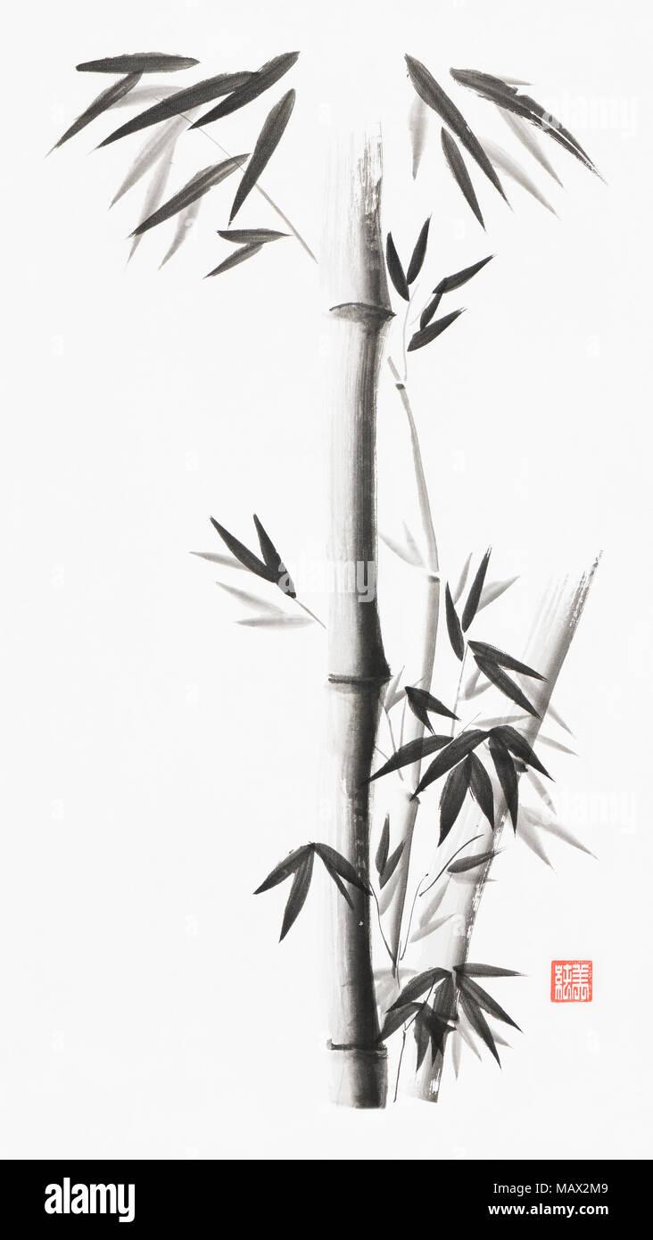 Minimalistischer Bambus Stengel mit Blättern künstlerische orientalischen Stil Illustration, japanische Zen Sumi Malerei mit schwarzer Tinte auf weißem Reis papier Hintergrund Stockbild
