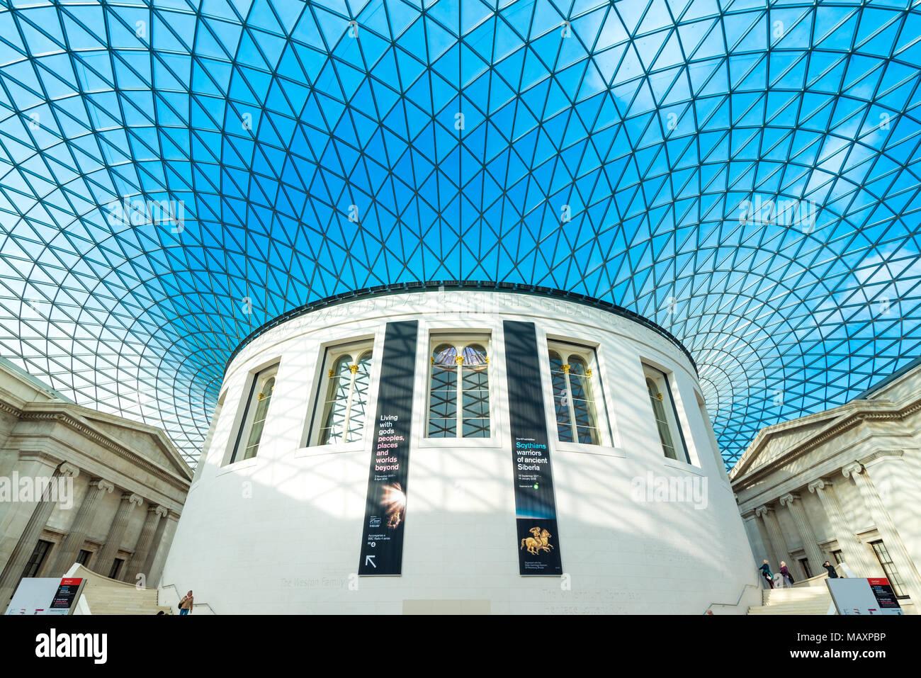 Den Great Court des British Museum, London, UK Stockbild