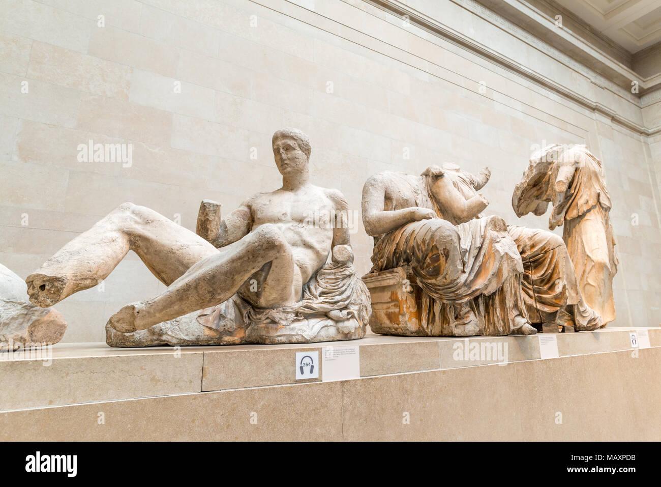 Die Elgin Marbles im British Museum, London, UK Stockbild