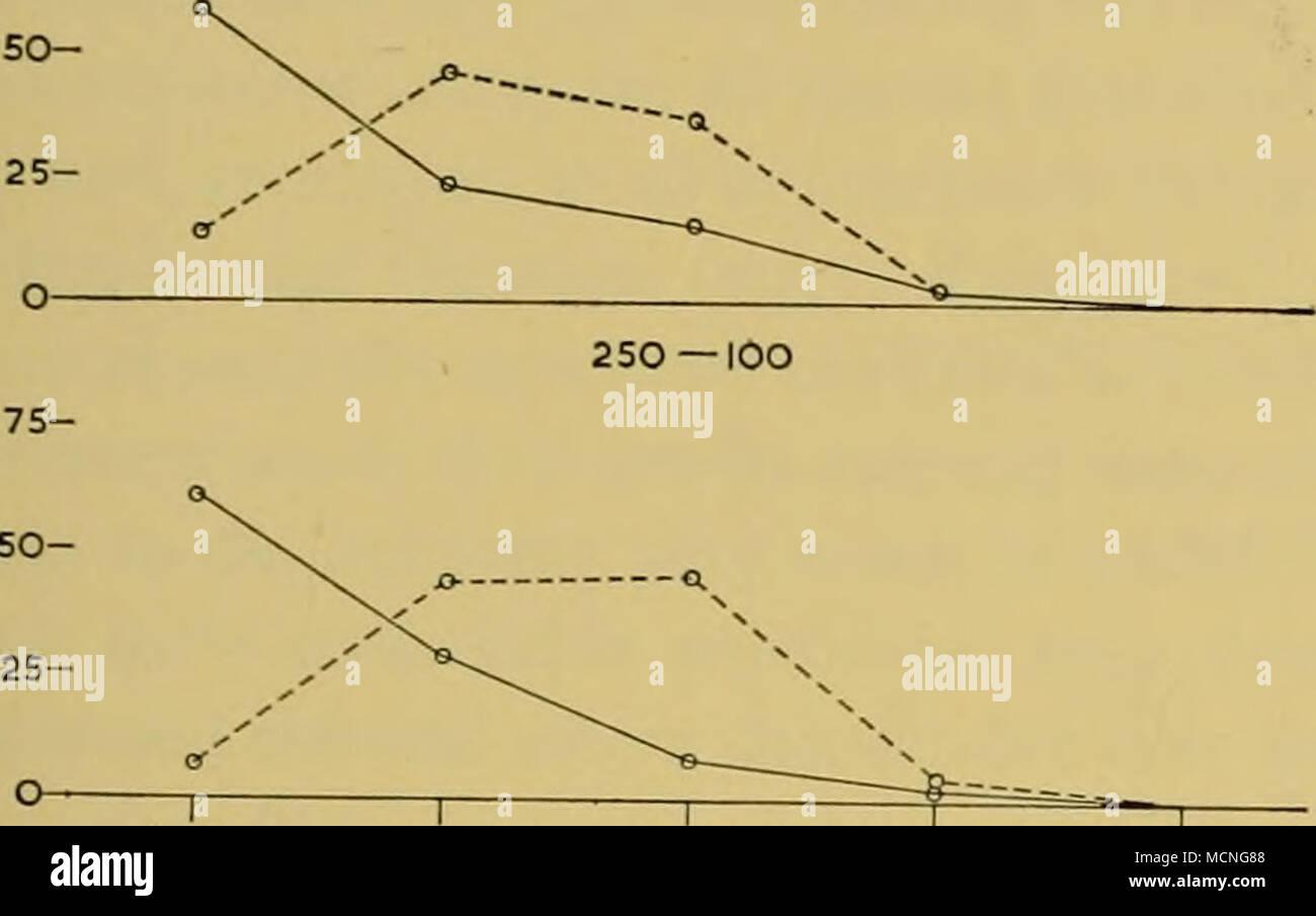 . 1 - 10 10 - 100 100 - 1000 1000 - 10000 loooo - iooooo Abb. 45. Bestellungen der Fülle der E.superha Calyptopes und Calanuspropinquus (wie eingereicht von Hardy und Gunther, siehe Text) ausgedrückt in Prozent der gesamten Stichproben aus der Antarktis Oberflächenschichten (vertikale net Hols). So-o Stockbild