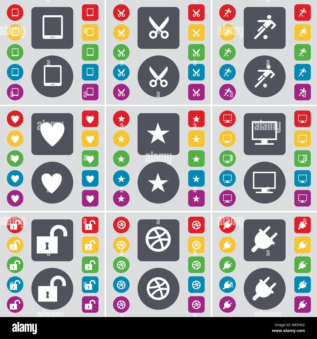 Eingereicht, PC, Schere, Fußball, Herz, Stern, Monitor, Lock, Kugel, Buchse Symbol. Eine große Auswahl an flache, farbige Schaltflächen für Ihre Konstruktion. Vektor illu Stockbild