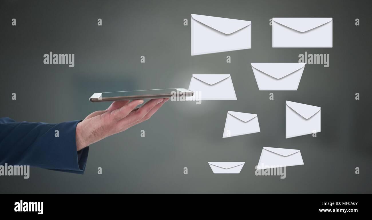 Briefe Schreiben Mit Tablet : Umschlag schreiben nachrichten und mit tablet hand