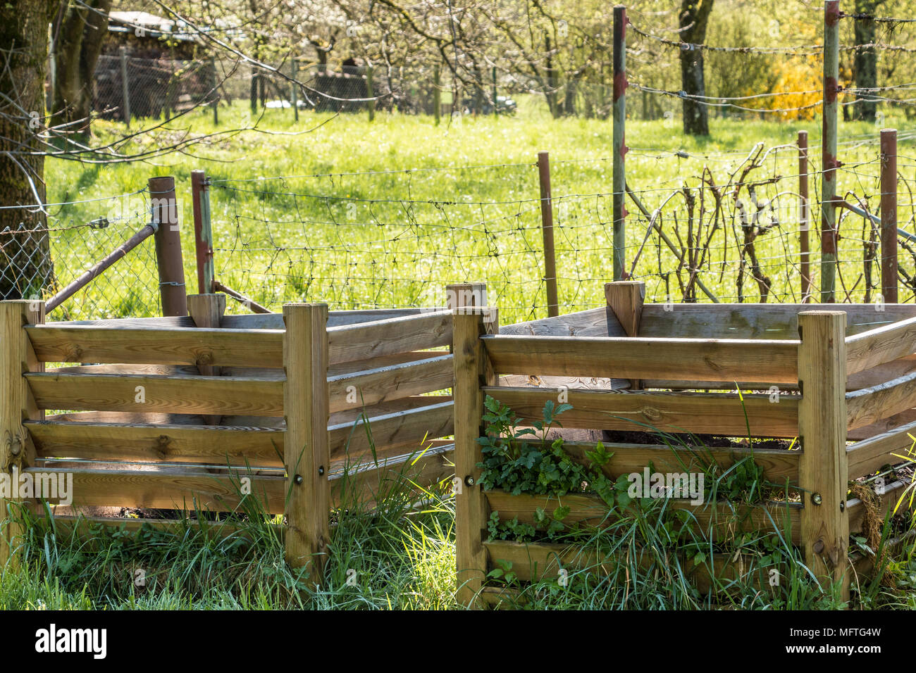 Komposthaufen mit fruchtbarem Boden in den grünen Garten Stockbild