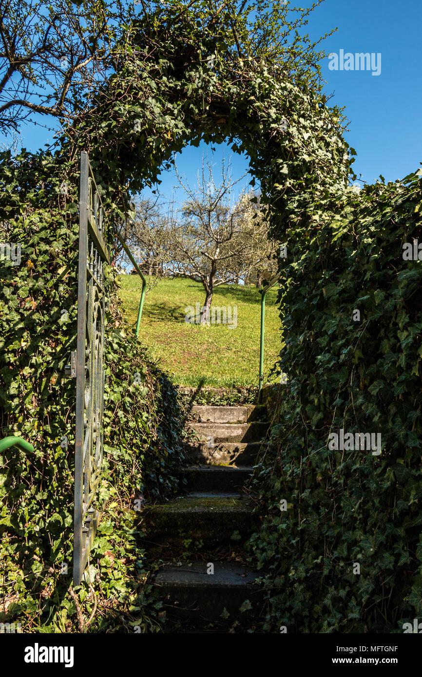 Eingang zum grünen Paradies der Garten Stockbild
