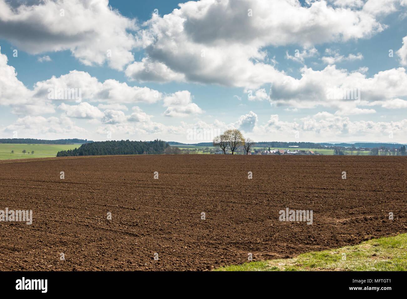 Große braune Felder von fruchtbarem Boden und grüne Wälder im Hintergrund Stockbild
