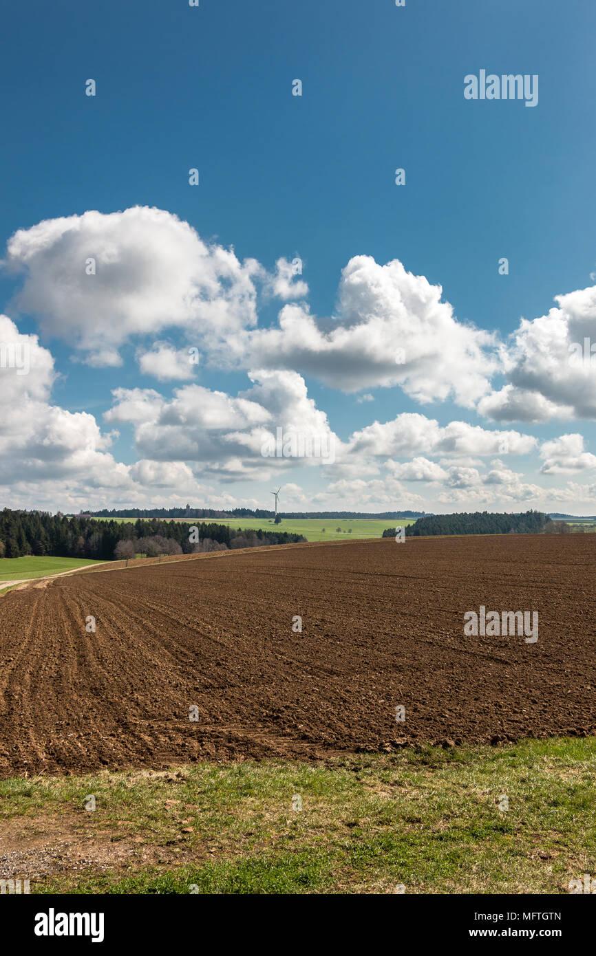Große braune Felder von fruchtbarem Boden, grünen Wald und Wind im Hintergrund Stockbild
