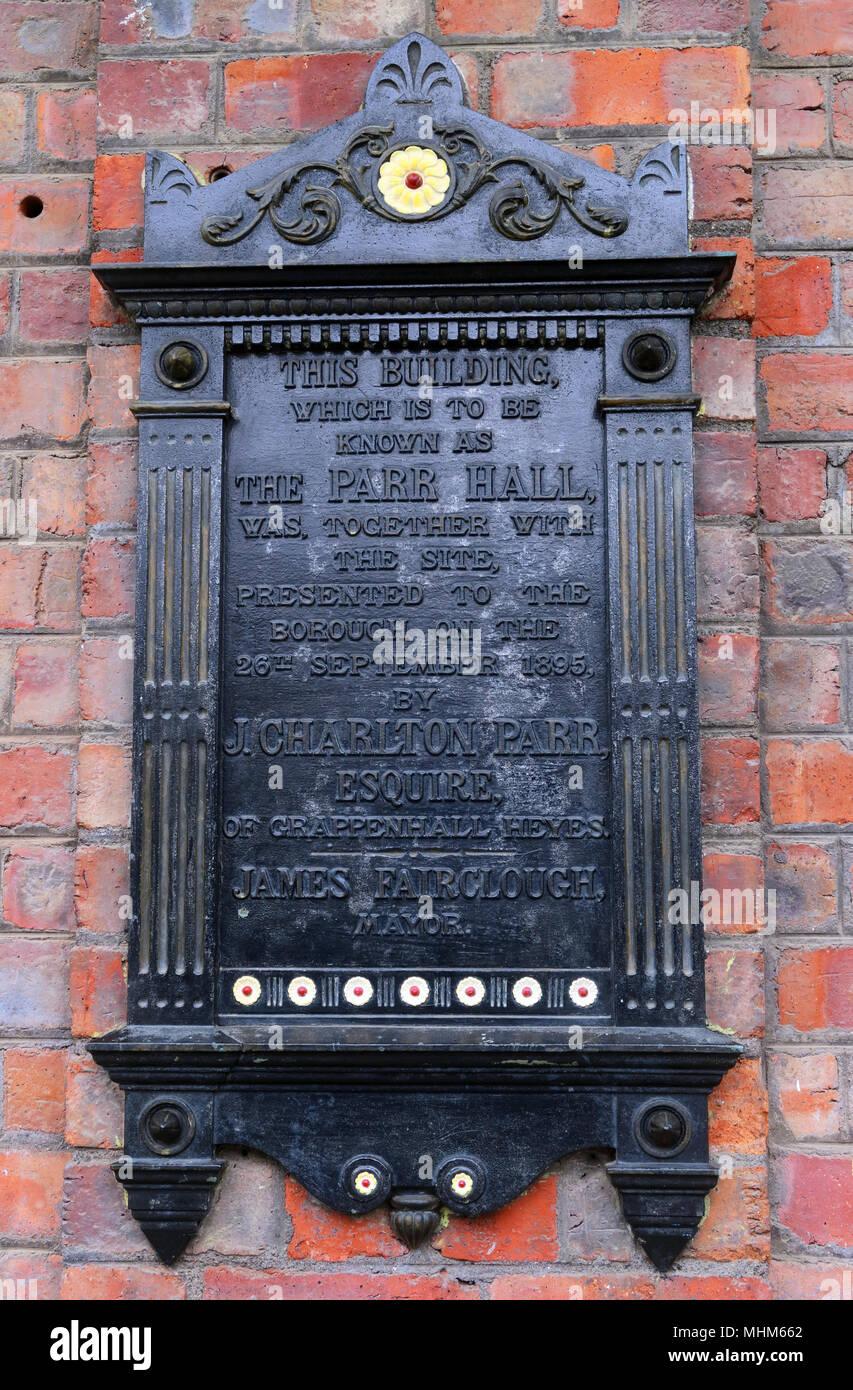 Laden Sie dieses Alamy Stockfoto Die Parr Hall Warrington, Plaque, North West England, Großbritannien - MHM662