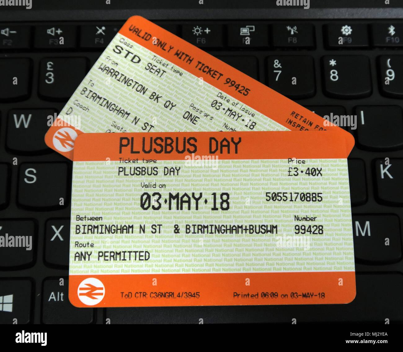 Laden Sie dieses Alamy Stockfoto Plusbus Rail Ticket und Bus Reisen für Birmingham auf WM reisen, Großbritannien - MJ2YEA