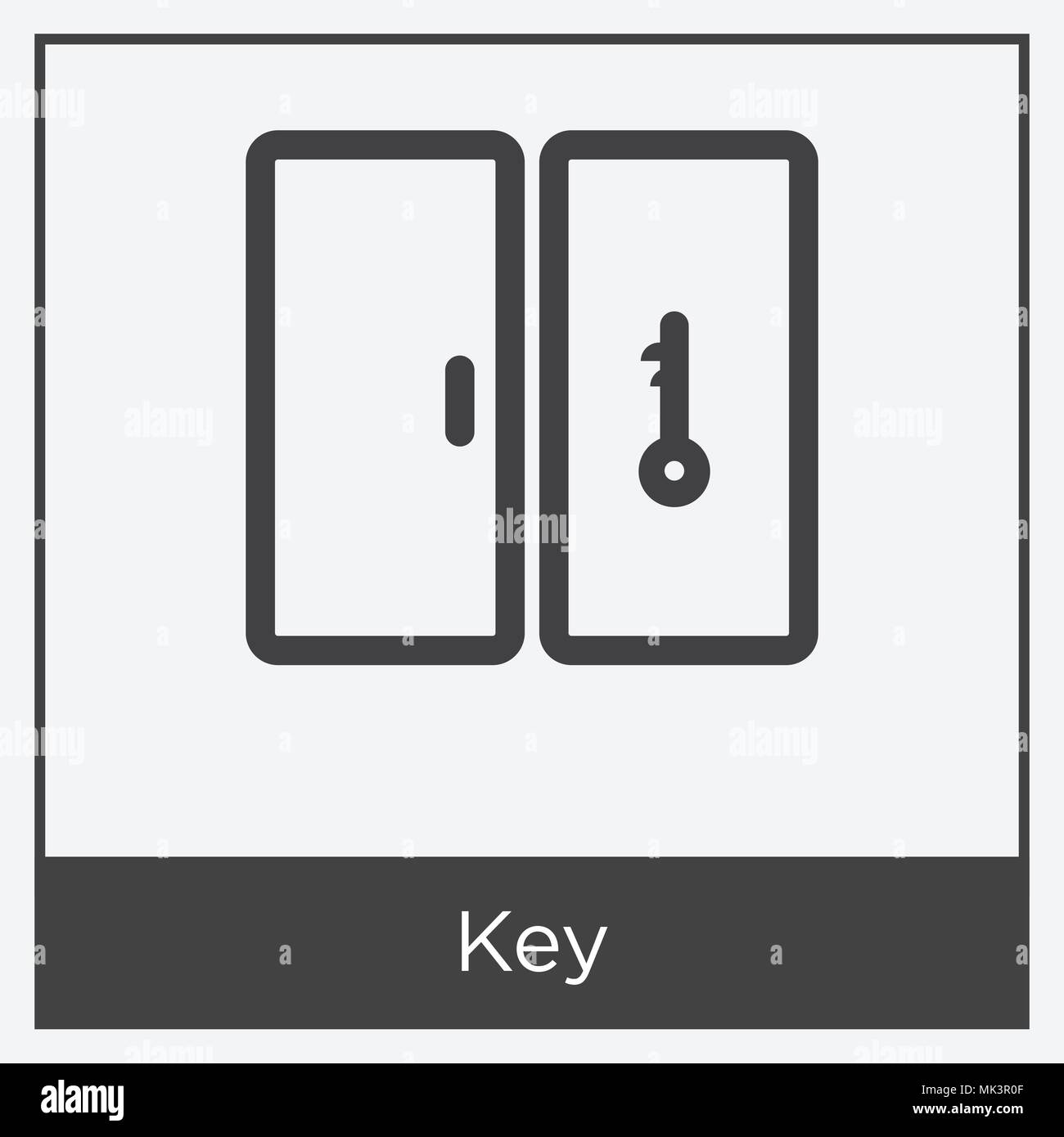 key symbol auf wei em hintergrund mit grauen rahmen. Black Bedroom Furniture Sets. Home Design Ideas