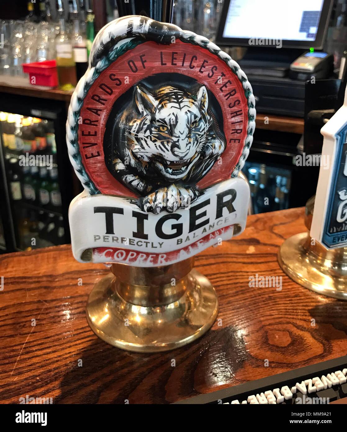 Laden Sie dieses Alamy Stockfoto Everards Tiger Beer Pumpen auf eine Bar, in einem traditionellen englischen Pub, England, Großbritannien - MM9A21
