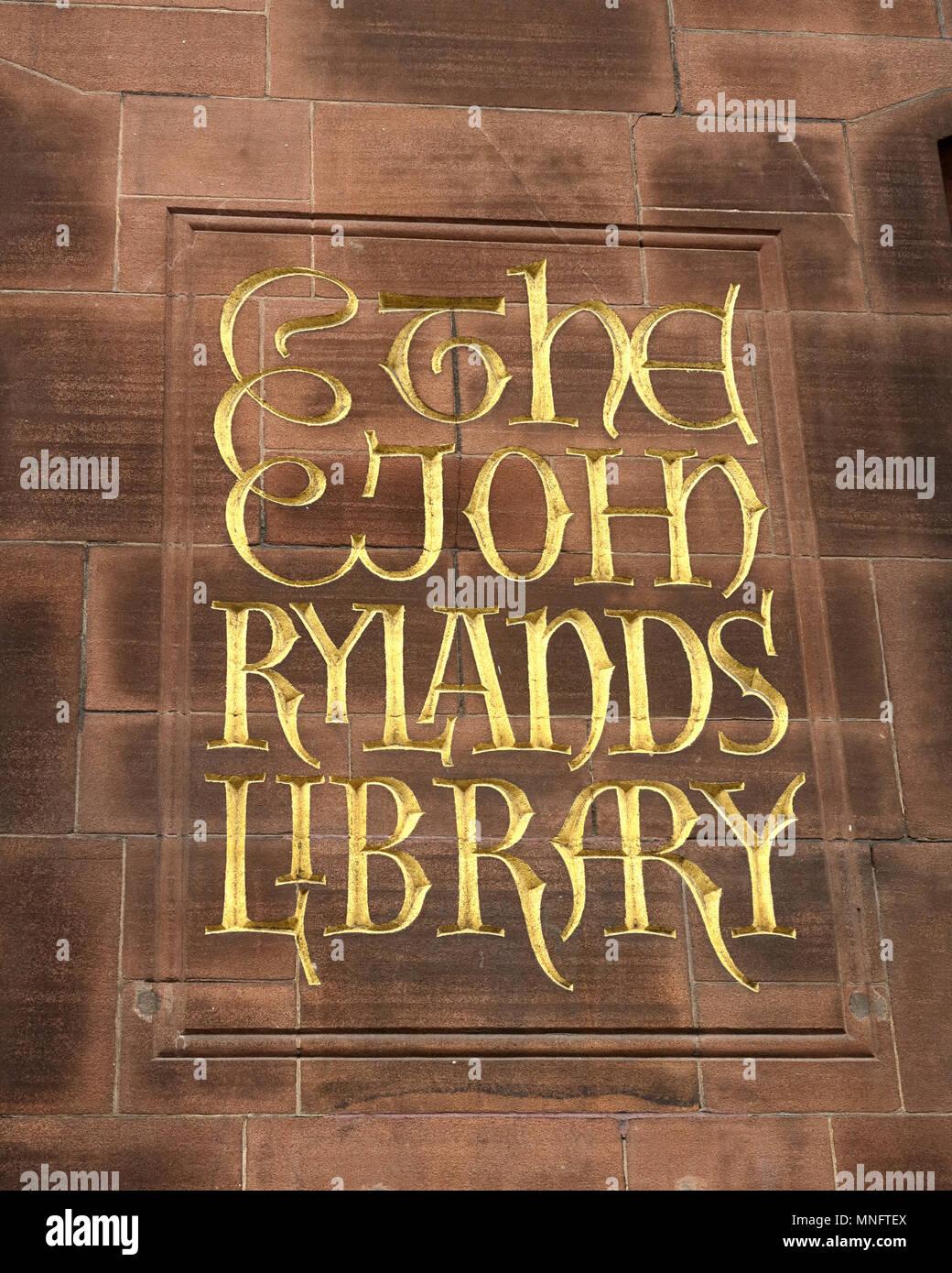 Laden Sie dieses Alamy Stockfoto John Rylands Library, Deansgate, Manchester, Lancashire, England, Großbritannien - MNFTEX