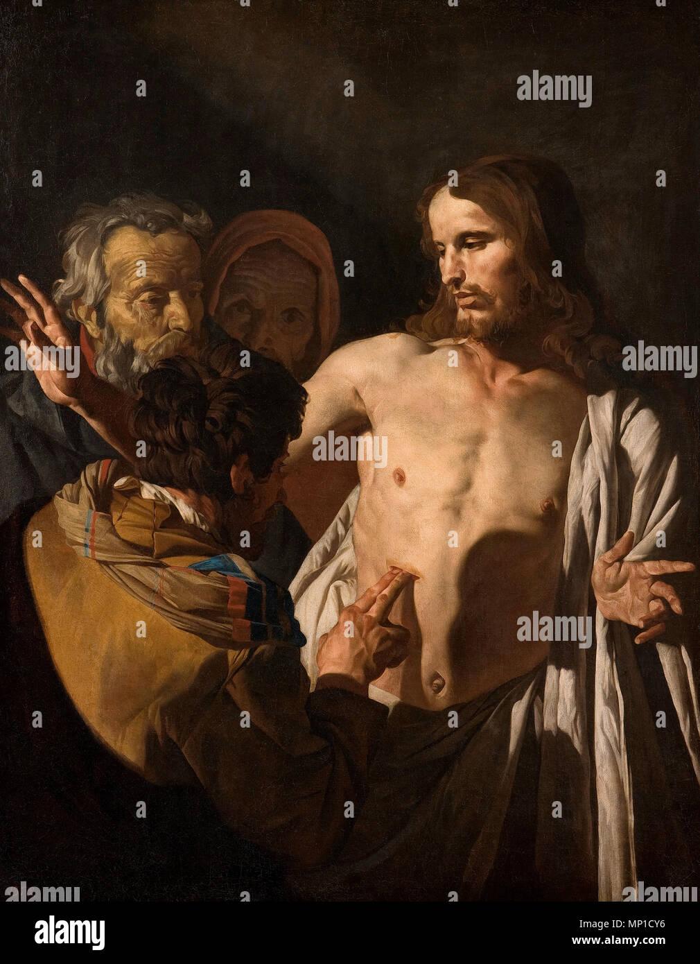 Die Ungläubigkeit des Hl. Thomas - Matthias Stom oder Matthias nden Stockbild