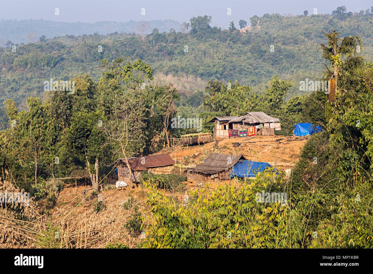 Haus in саква Dorf, Meghalaya, Indien Stockfoto