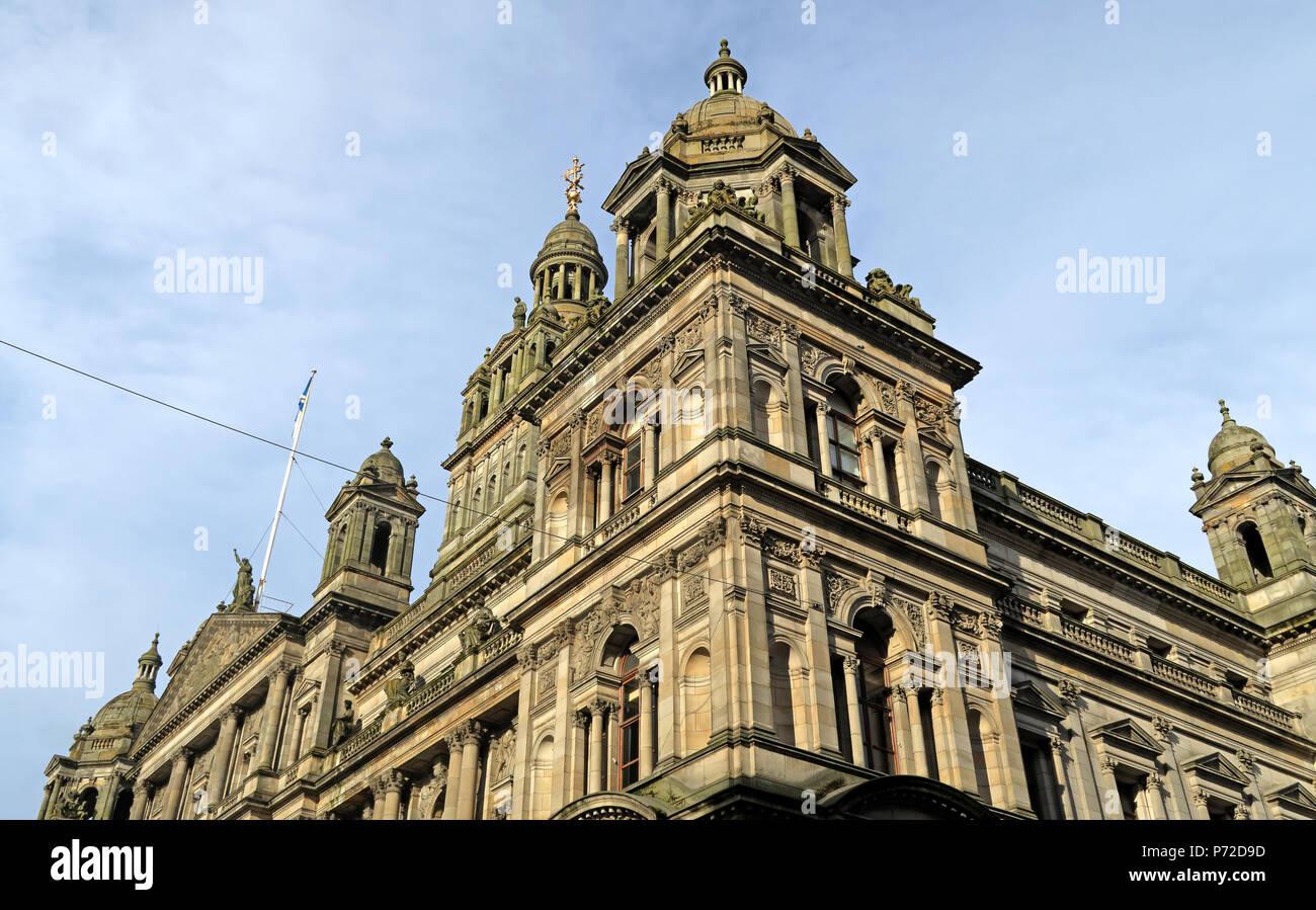 Dieses Stockfoto: City Chambers, Glasgow City Council, George Square, Schottland, Großbritannien - P72D9D