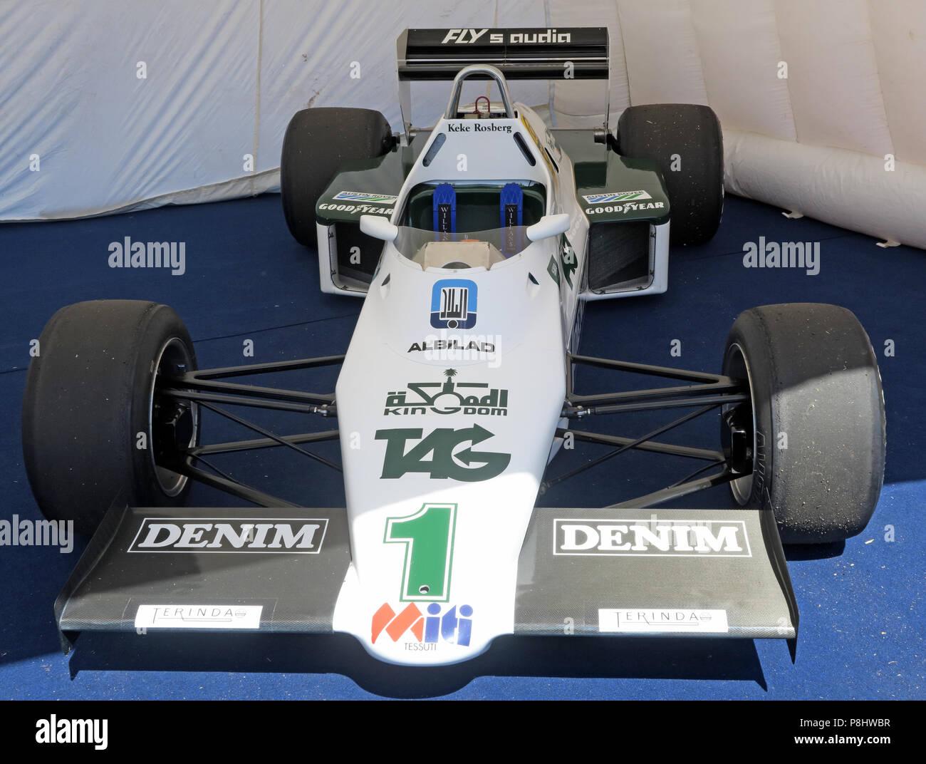Dieses Stockfoto: Keke Rosberg/Formel 1 F1-Rennwagen, gesponsert von Denim - Williams Cosworth FW08C angetrieben von Ayrton Senna - P8HWBR