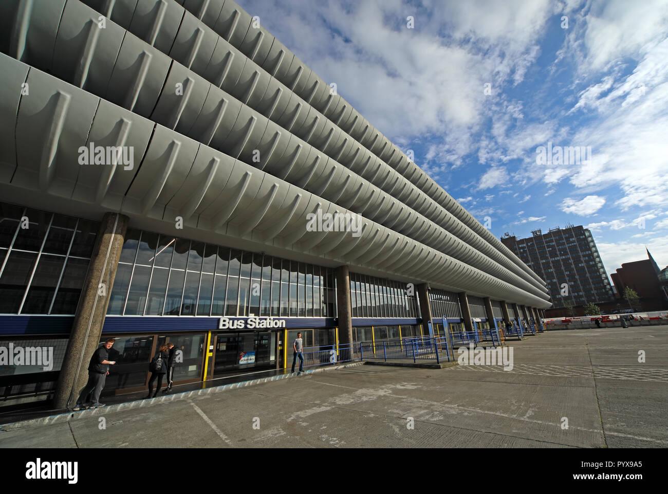 Laden Sie dieses Alamy Stockfoto Preston Busbahnhof, Brutalist architektonischen Stil, Tithebarn Straße, Preston, Lancashire, North West England, Großbritannien - PYX9A5