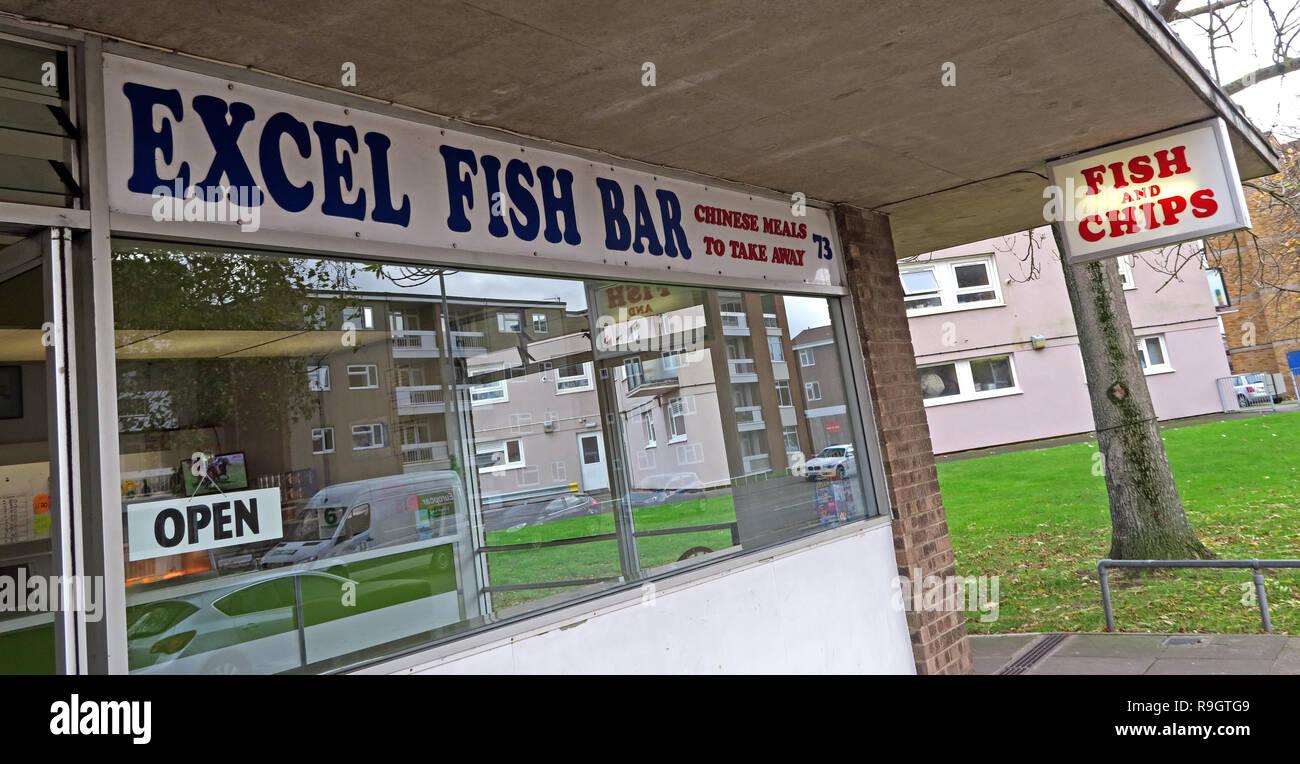 Laden Sie dieses Alamy Stockfoto Excel Fisch Bar, 73 West Street, Bridgwater, Somerset, South West England, UK, TA6 3RH - Arbeitsblatt Abendmahl bar und Fast Food - R9GTG9