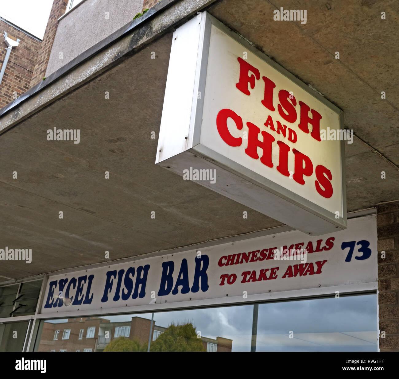Laden Sie dieses Alamy Stockfoto Excel Fisch Bar, 73 West Street, Bridgwater, Somerset, South West England, UK, TA6 3RH - Arbeitsblatt Abendmahl bar und Fast Food - R9GTHF