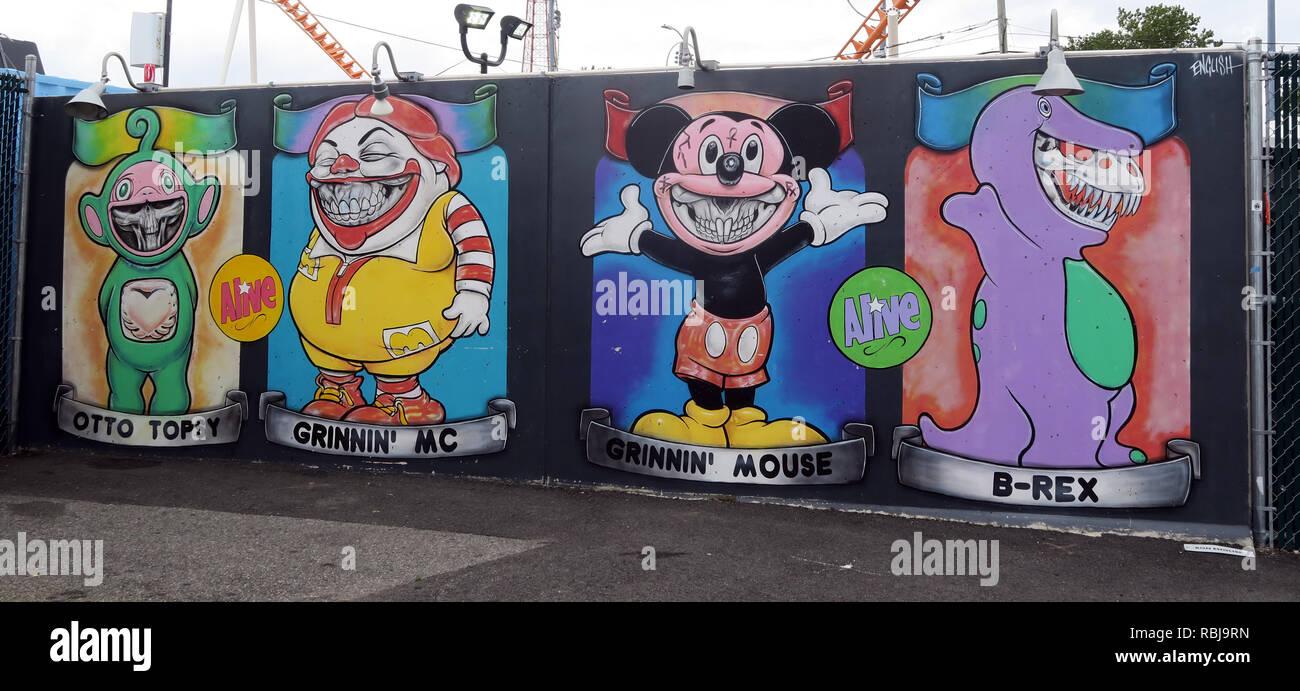 Laden Sie dieses Alamy Stockfoto Coney Wände Kunst - Otto Topsy Grinnin Mc, B-REX - Coney Island Seaside - Brooklyn, New York, NY, USA - RBJ9RN