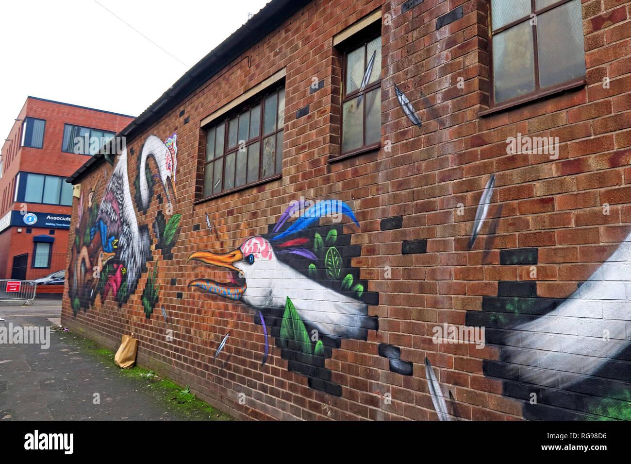 Laden Sie dieses Alamy Stockfoto Emerica Werk arbeitet, Vogel Kunst, Cross Keys St, Northern Quarter, Manchester, Stadtzentrum, North West England, UK, M 4 5 ET - RG98D6