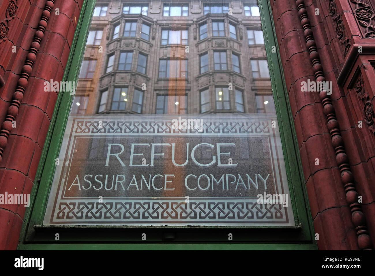 Laden Sie dieses Alamy Stockfoto Fenster Refuge Assurance Company Hauptverwaltung, Oxford Road, Manchester, North West England, VEREINIGTES KÖNIGREICH, - RG98NB