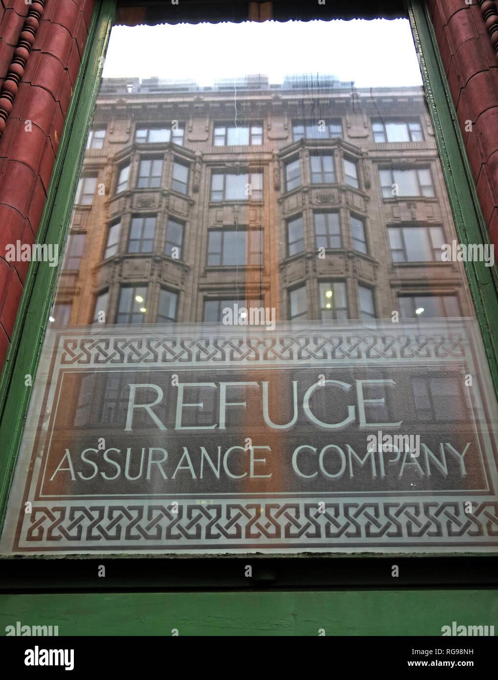Laden Sie dieses Alamy Stockfoto Fenster Refuge Assurance Company Hauptverwaltung, Oxford Road, Manchester, North West England, VEREINIGTES KÖNIGREICH, - RG98NH