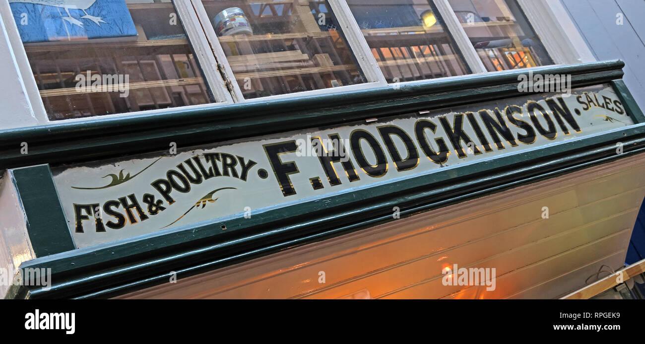 Laden Sie dieses Alamy Stockfoto Fisch & Geflügel, F. Hodgkinson Sales Office, Manchester Craft Village, Oak Street, Northern Quarter, Manchester, Lancashire, Großbritannien, M4 5JD - RPGEK9