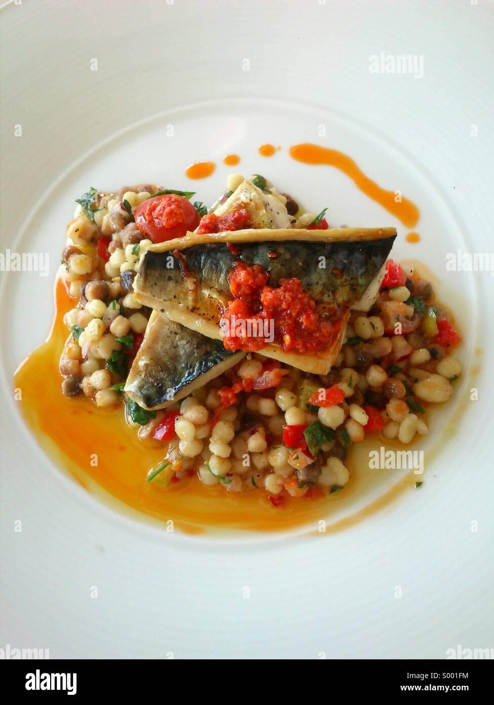 Makrele, Jamie Oliver-Stil Stockbild