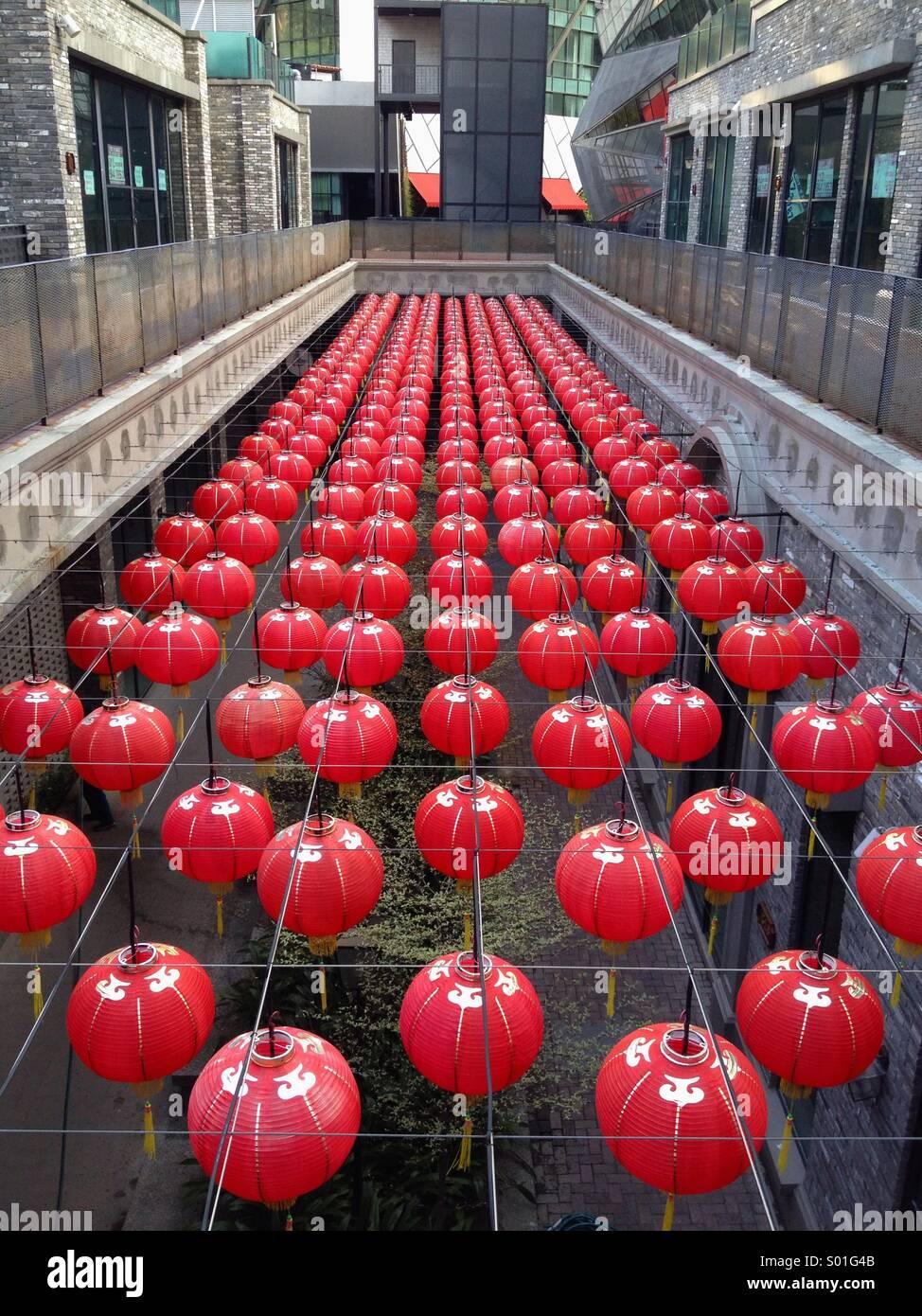 Eine Reihe von chinesischen Neujahr Laternen Stockbild
