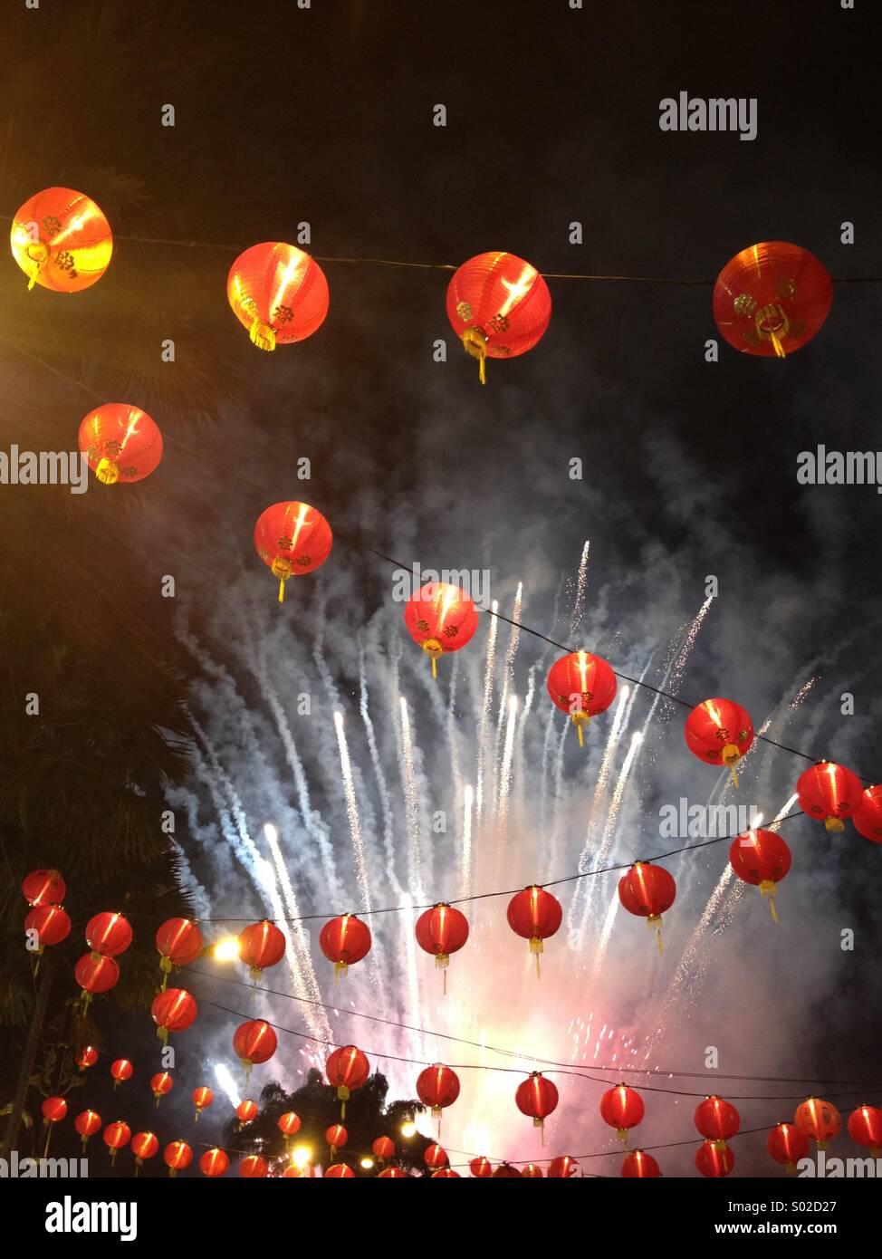 Chinese New Year Laternen Feuerwerk Stockbild