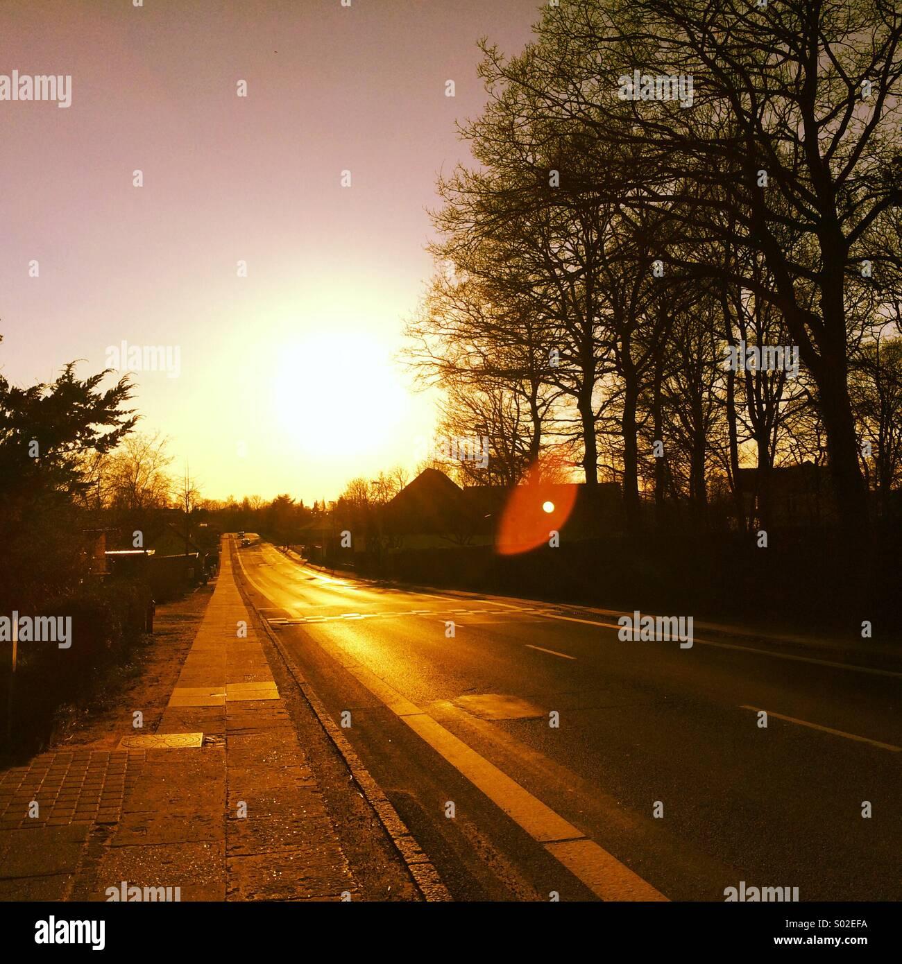 Sonnenuntergang, Abschied heute Morgen willkommen Stockbild