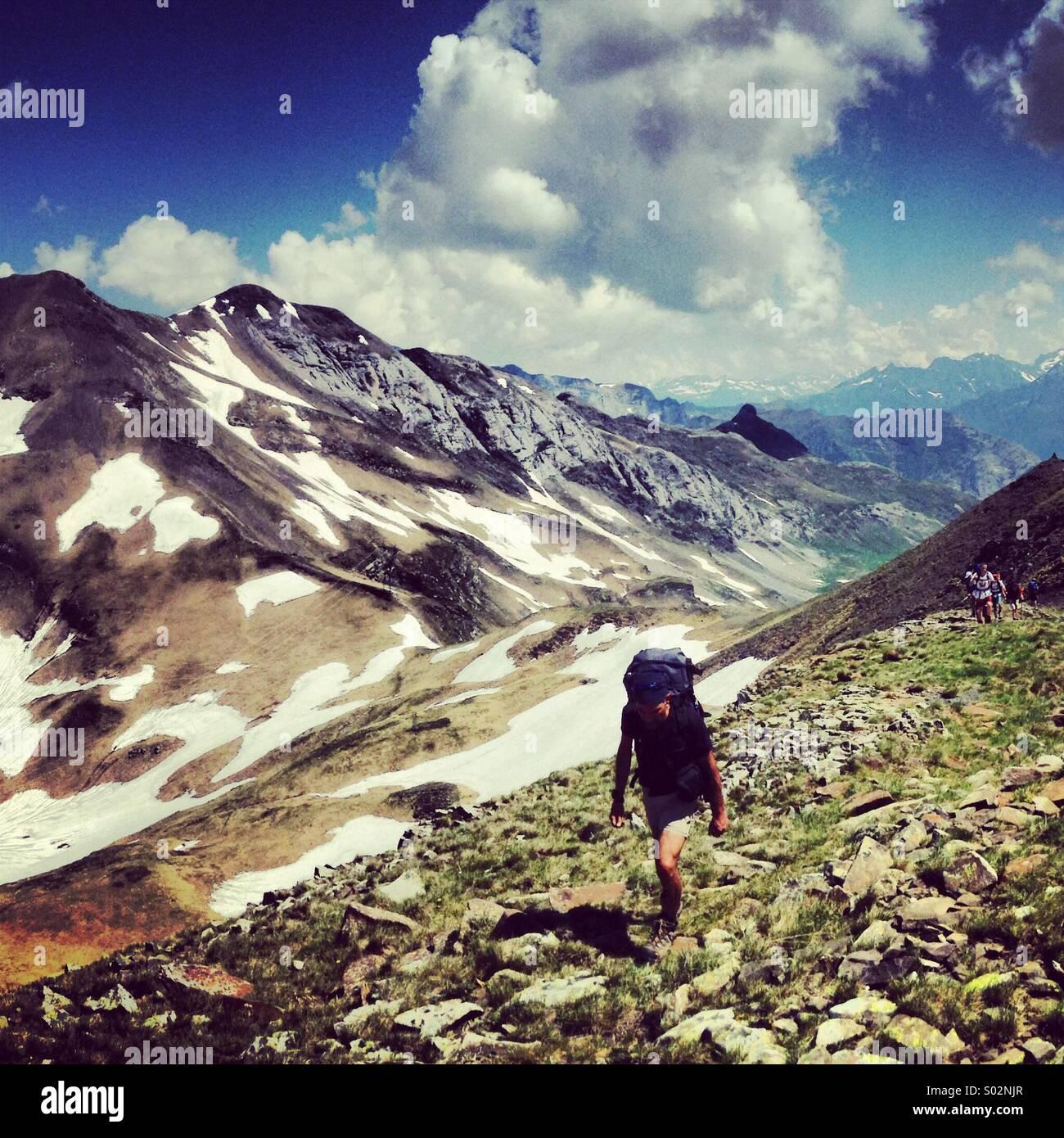 Wandern in den Pyrenäen Stockbild