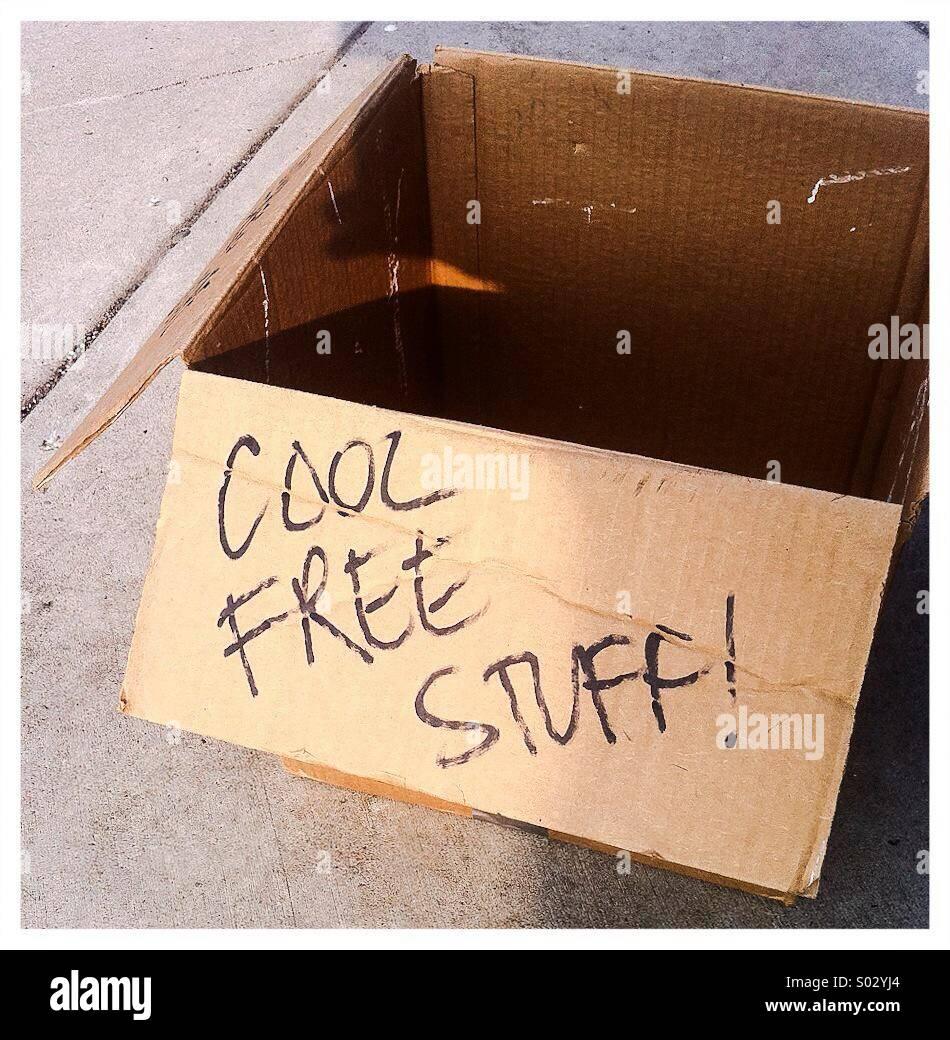 Box von coolen free stuff Stockfoto