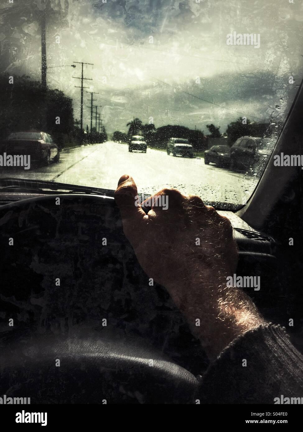 Sicht des Fahrers Stockbild