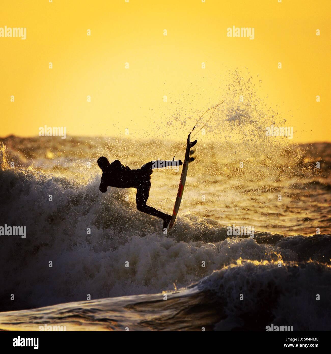 Sonnenuntergang surfer Stockbild