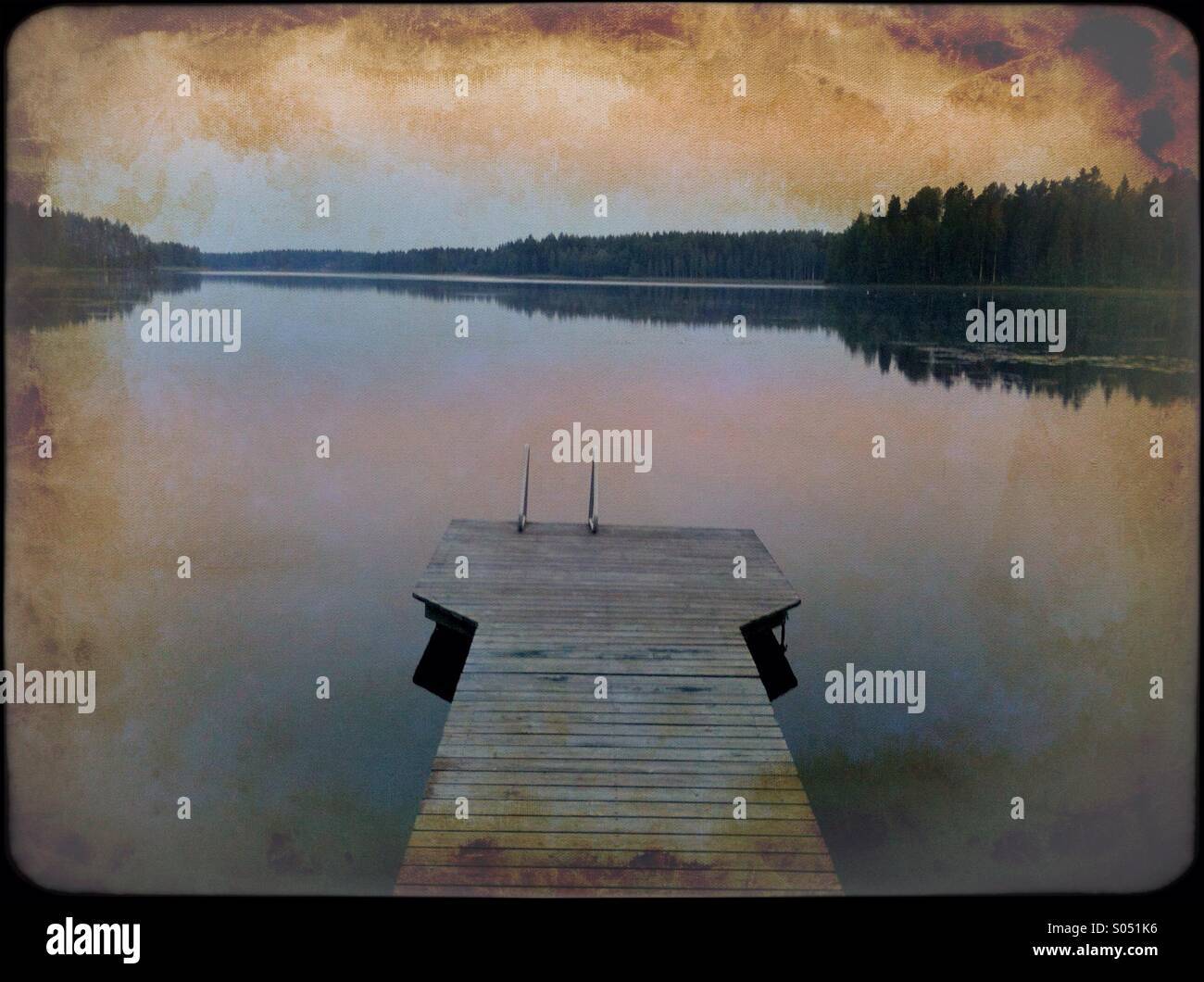 Lakeview mit Nostalgie Stockbild