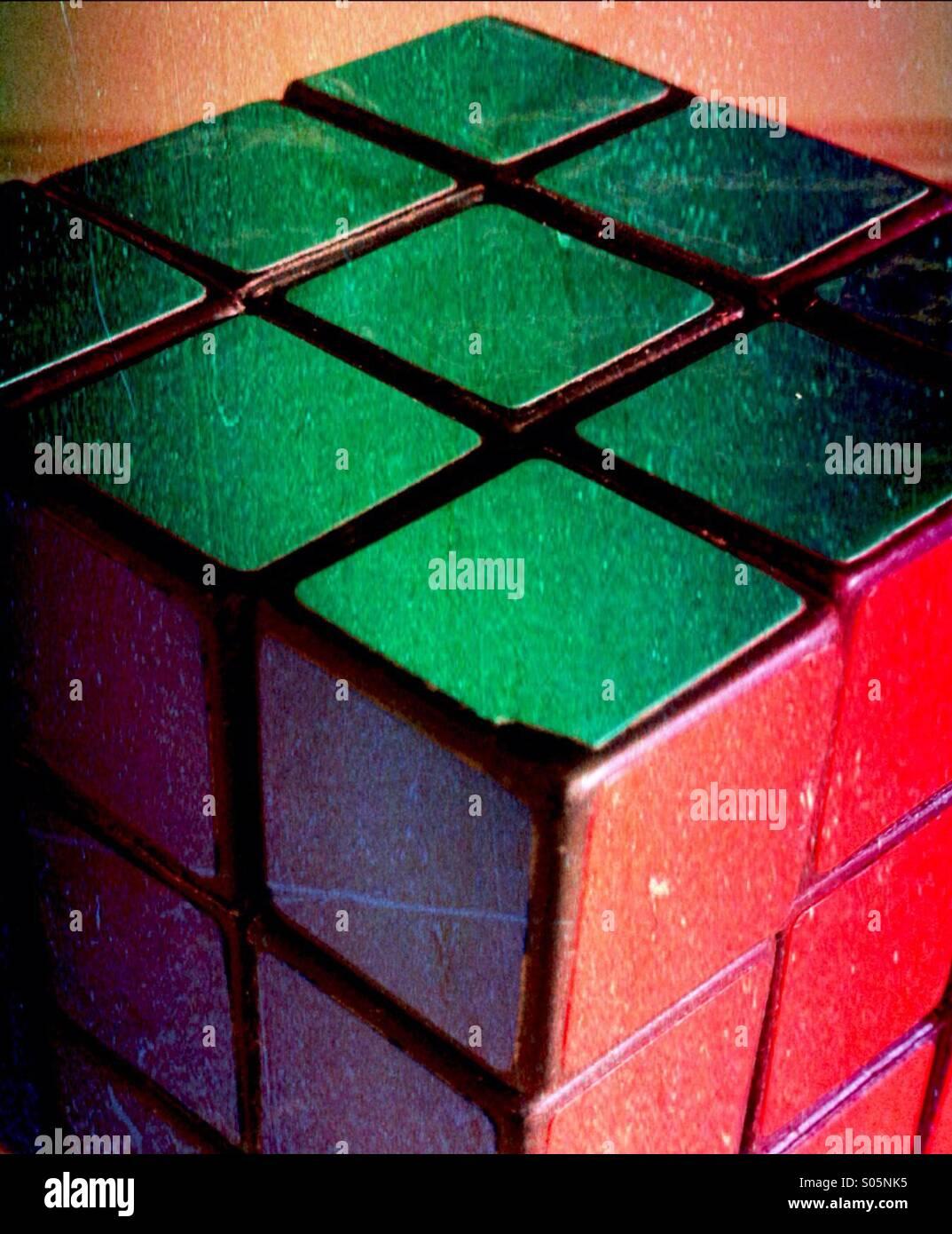 Seitenansicht eines Rubik cube Stockbild
