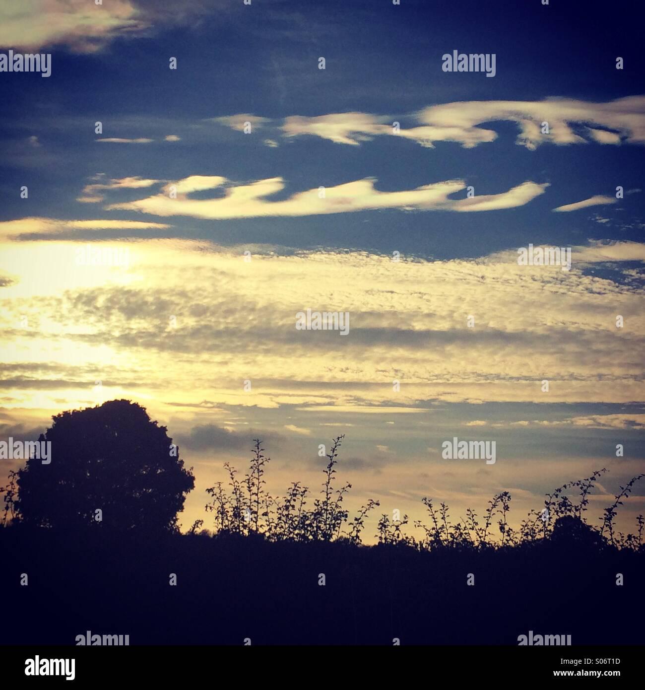 Wellenmuster in Wolken in der Abenddämmerung Stockbild