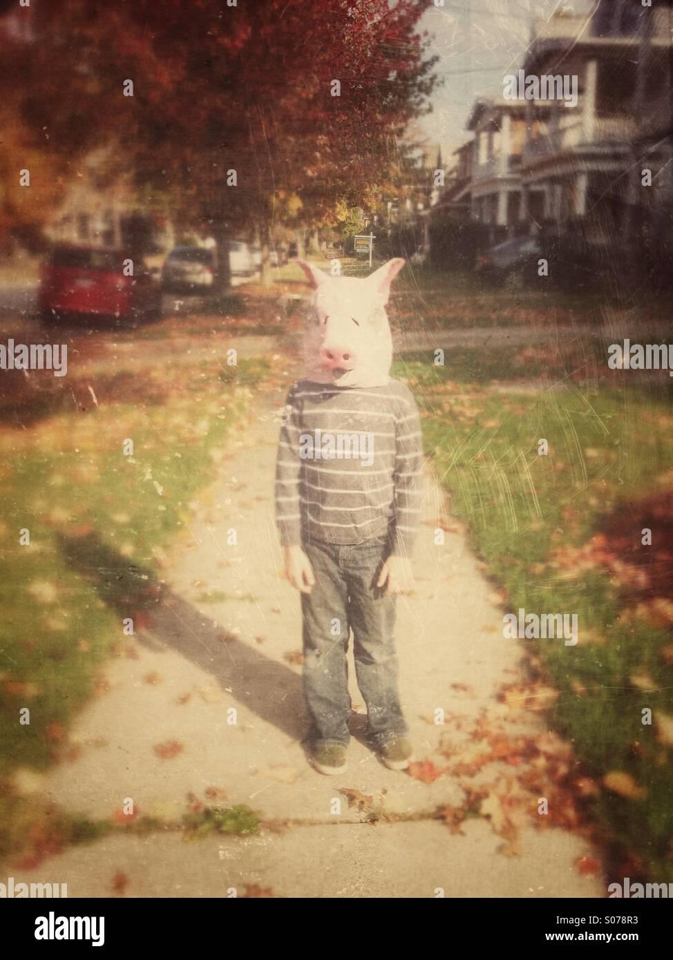 Junge im Schwein Maske auf Bürgersteig Stockbild