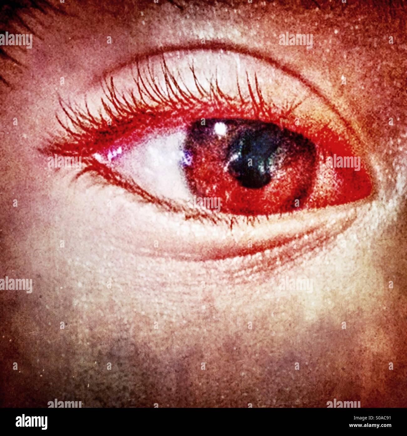 Nahaufnahme eines menschlichen Auges. Stockbild