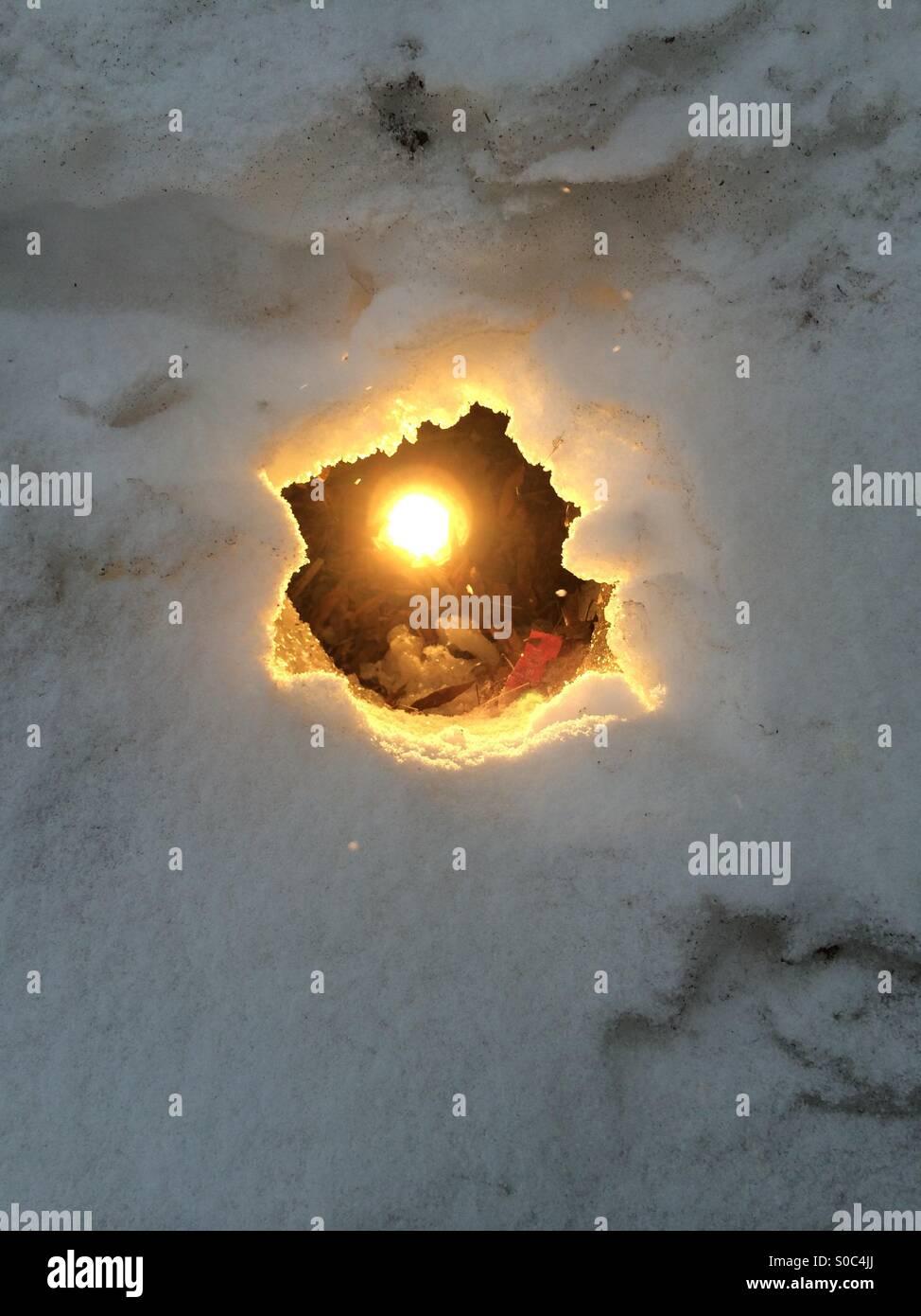 Licht im Schnee Stockbild
