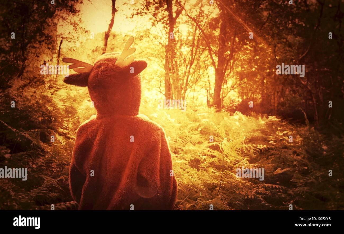 """Ein Kind in ein Strampler erkunden einen verzauberten Wald - """"where the wild Things are"""" Stockbild"""