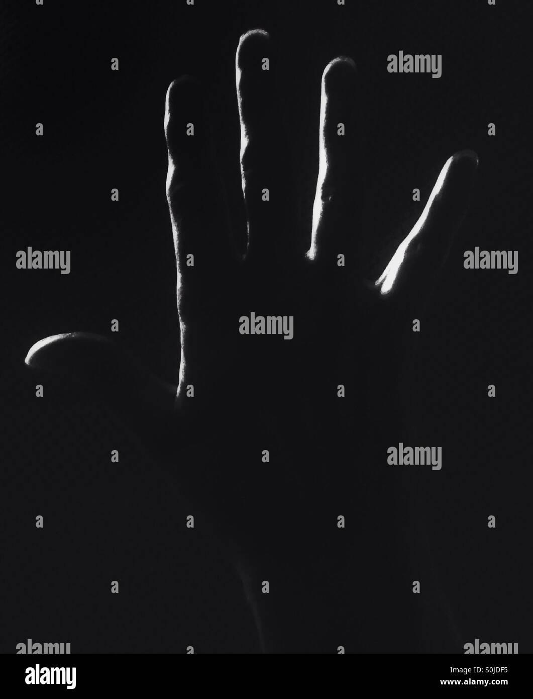 Eine geöffnete Hand. Stockbild