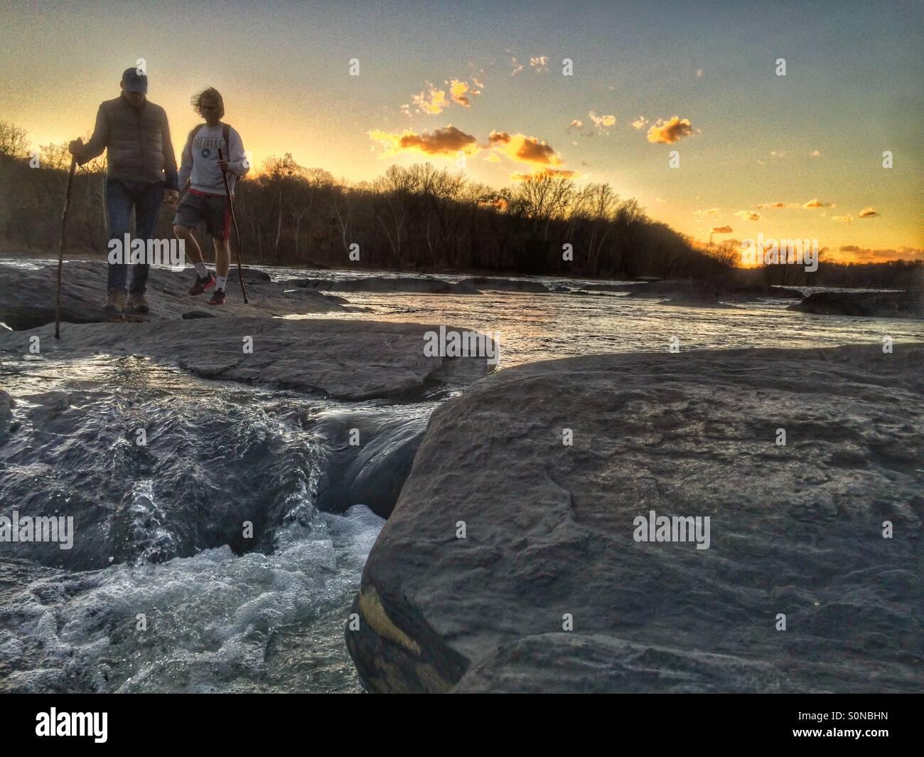Erkunden den Potomac River, Harpers Ferry, West Virginia Stockbild