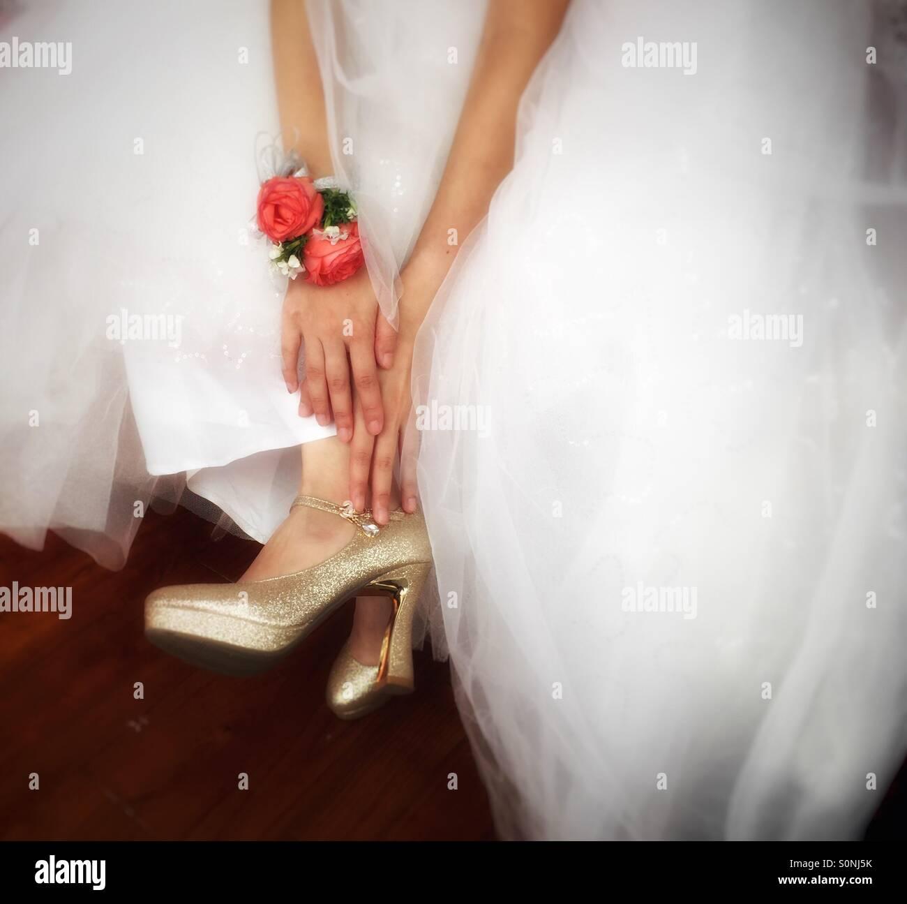 Braut Schuhe Hochzeit Tag Stockbild