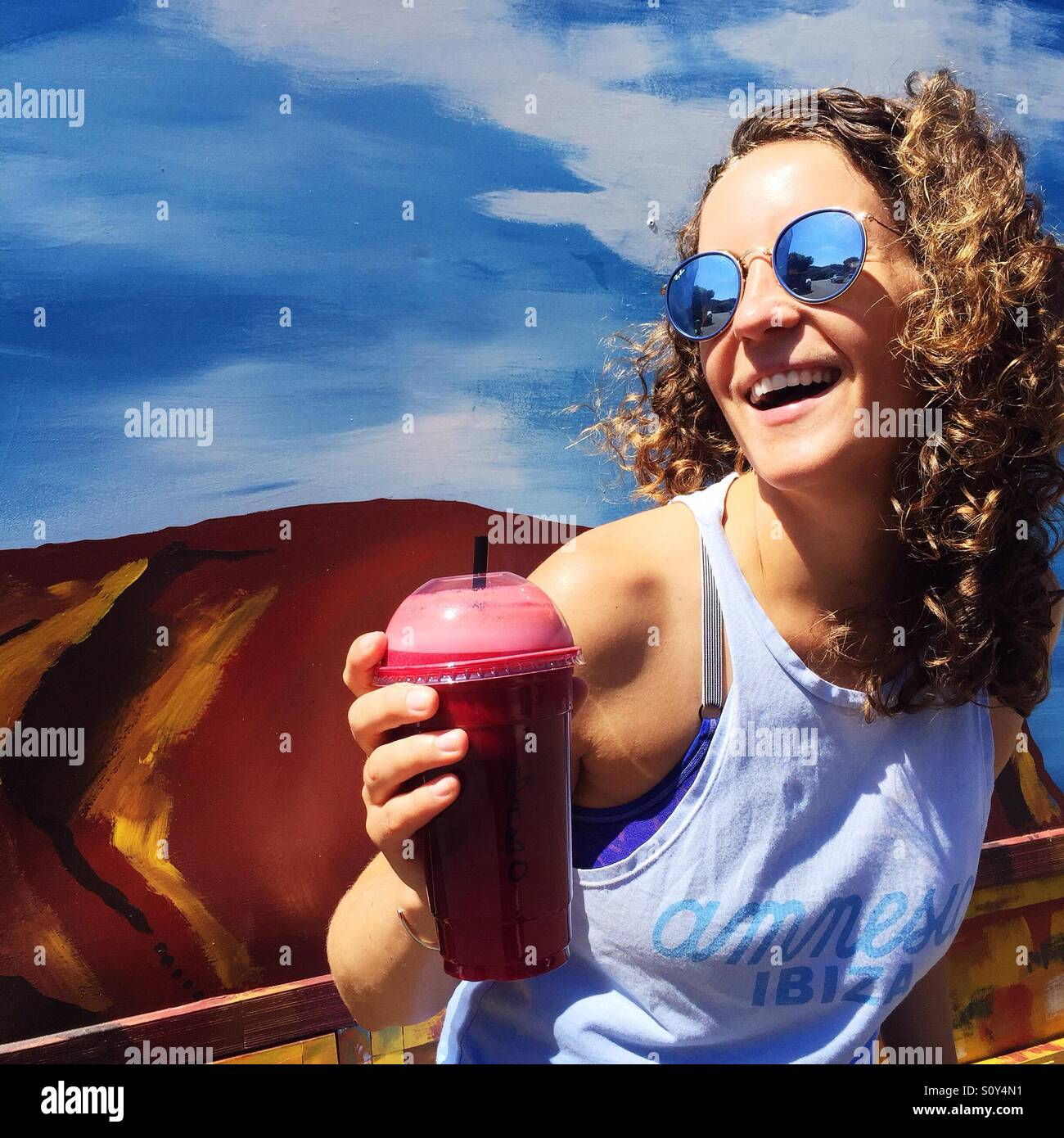 Porträt einer glücklichen Frau Stockbild