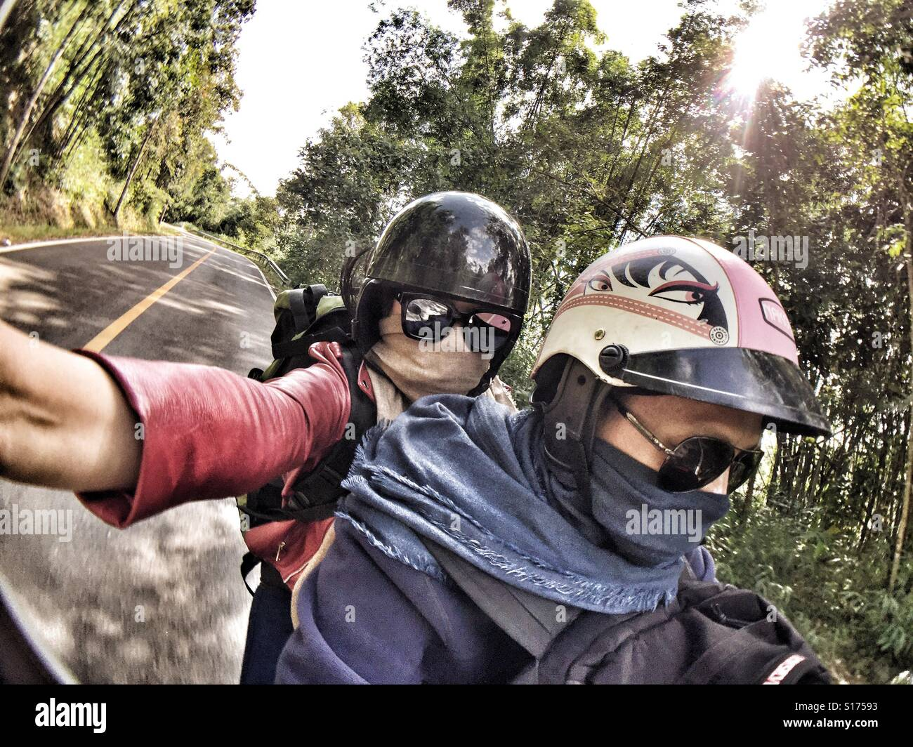 Reisenden Selfie auf Motorrad Stockfoto