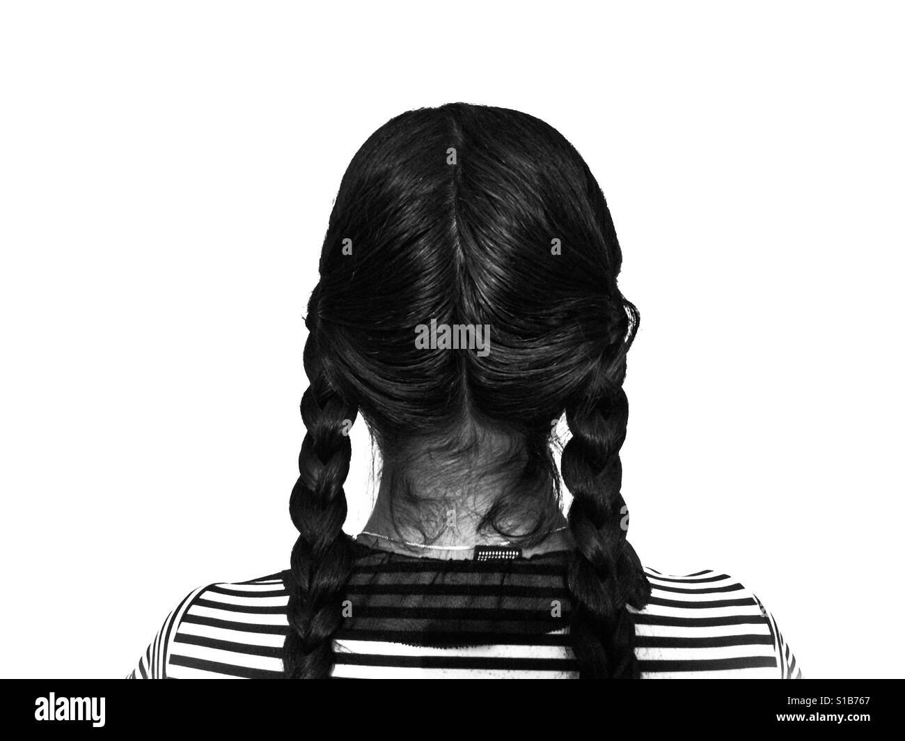 Das schwarze und weiße Mädchen Stockfoto