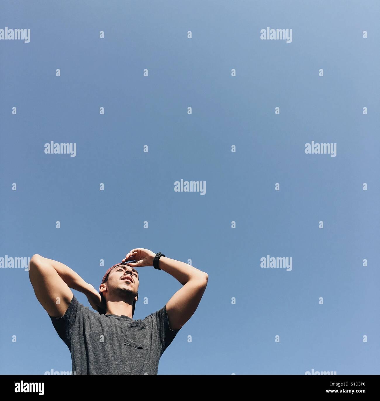 Stehend in der Sonne - inspirierend, Blick in die Zukunft Stockfoto